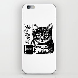 Funny cat motivated by coffee iPhone Skin
