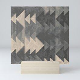 Geometric triangles abstract pattern - Gray tones & Beige Mini Art Print