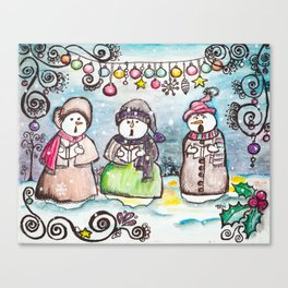 Holiday Snowman Singing Trio Canvas Print