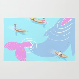 Fishermen and the pink whale Rug