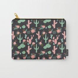 Cactus florals dark charcoal colorful trendy desert southwest house plants cacti succulents pattern Carry-All Pouch