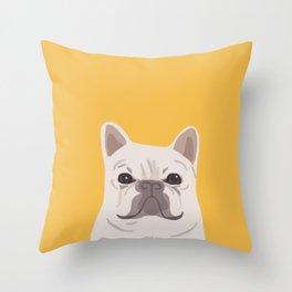 Frenchie on Yellow Throw Pillow