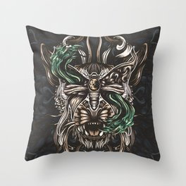 Moth and tiger Throw Pillow