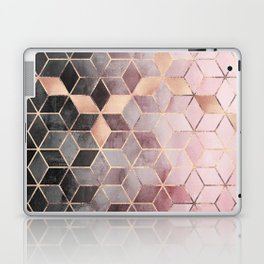 Pink And Grey Gradient Cubes Laptop & iPad Skin