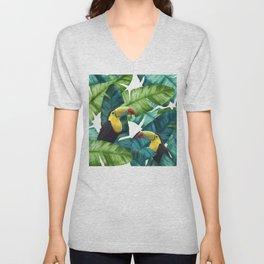 Toucans Tropical Banana Leaves Pattern Unisex V-Neck