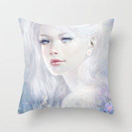Ethereal - White as ice beatiful girl portrait Throw Pillow