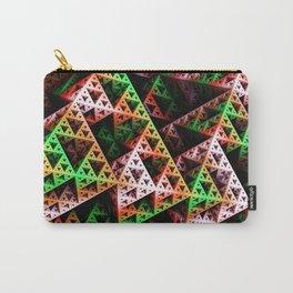Pink & Green 3D Sierpinski Triangle Fractal Art Print Carry-All Pouch