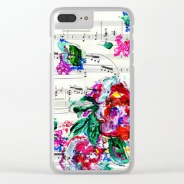 Musical Beauty - Floral Abstract - Piano Notes Clear iPhone Case