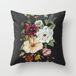 Colorful Wildflower Bouquet on Charcoal Black Throw Pillow
