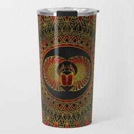 Egyptian Scarab Beetle - Gold and red  metallic Travel Mug