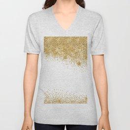 Sparkling golden glitter confetti effect Unisex V-Neck