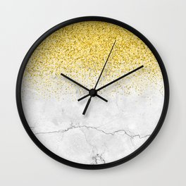 Gold Glitter and Grey Marble texture Wall Clock