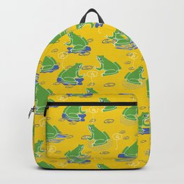 Green Frog On Lily Pad Backpack