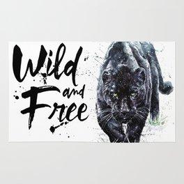 Panther watercolor painting predator animals puma jaguar wild & fre Rug
