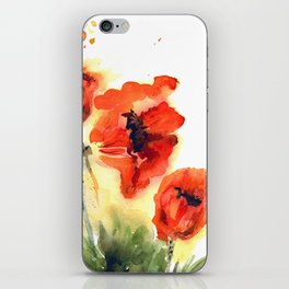 Watercolor hand drawn orange poppies on white background iPhone Skin