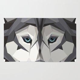 Triangular Geometric Siberian Husky Head Rug