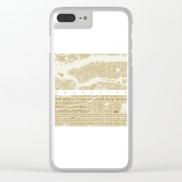 Manhattan NYC map gold Clear iPhone Case