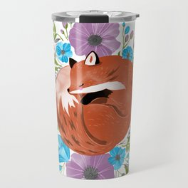 Sleepy fox in a bed of flowers Travel Mug