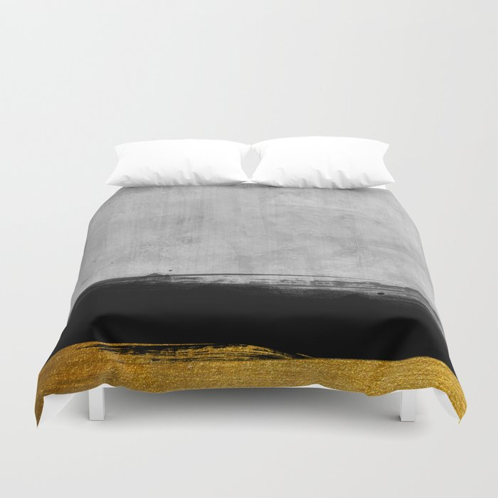 Black and Gold grunge stripes on modern grey concrete abstract backround I - Stripe - Striped Duvet Cover