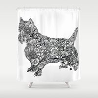 terrier Shower Curtains featuring Terrier by PawPrints