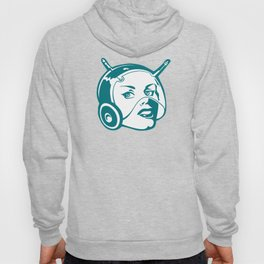 Faces: SciFi lady on a teal and orange pattern background Hoody