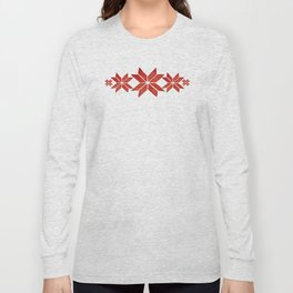 Scandinavian inspired print with red mini stars Long Sleeve T-shirt