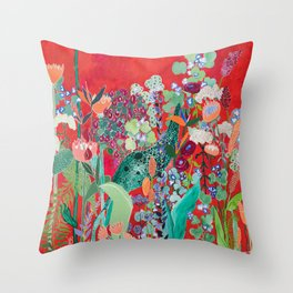 Red floral Jungle Garden Botanical featuring Proteas, Reeds, Eucalyptus, Ferns and Birds of Paradise Throw Pillow