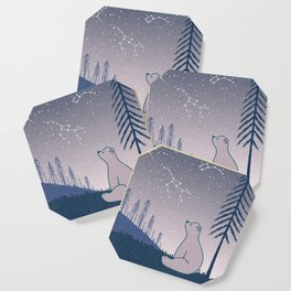 Bear and Constellations navy blue Coaster