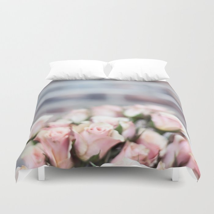 ROSES - PINK - PHOTOGRAPHY - FLOWERS Duvet Cover