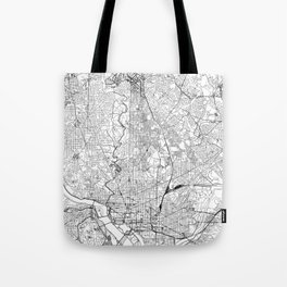 Washington D.C. White Map Tote Bag