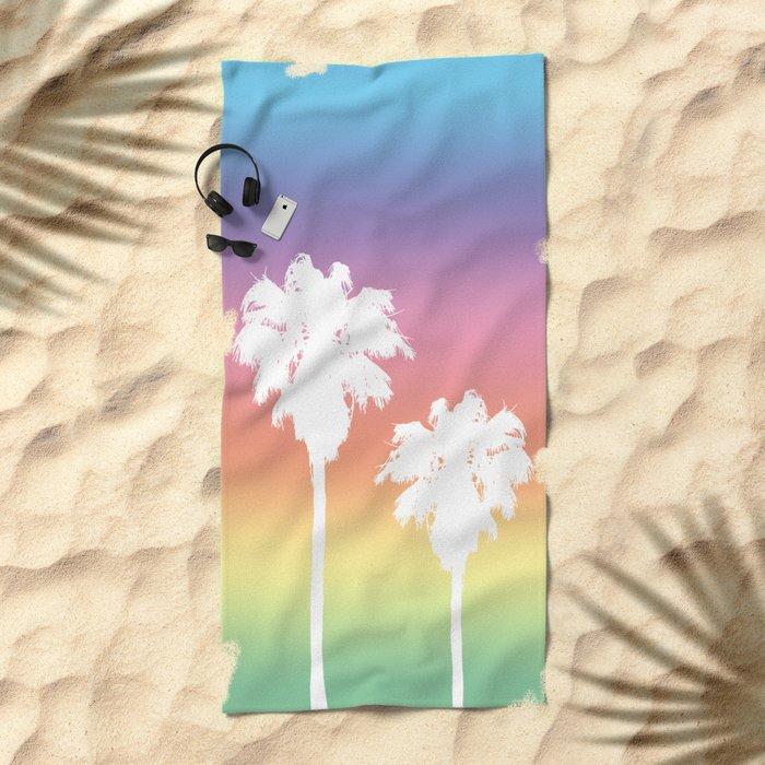 Rainbow Palm Tree Sunset Beach Towel