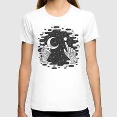 Look to the Skies White Womens Fitted Tee MEDIUM