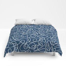 Doodle Line Art | White Lines on Petrol Blue Comforters