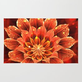 Red Dahlia Fractal Flower with Beautiful Bokeh (Vivid Crimson) Rug