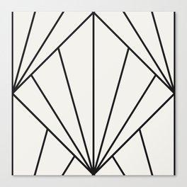 Diamond Series Sun Burst Charcoal on White Canvas Print