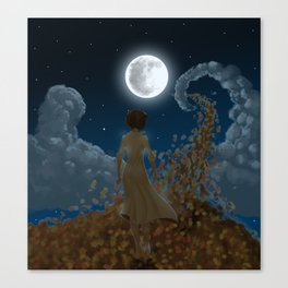 The moon and Leaves Canvas Print