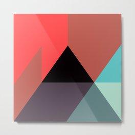 Red Black Blue Triangles Metal Print