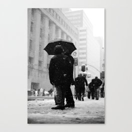 man and woman in the snow, new york city Canvas Print