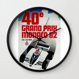 Gran Prix de Monaco, 1982, original vintage poster Wall Clock