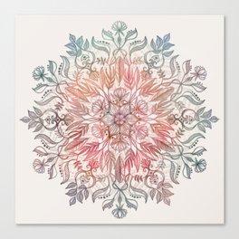 Autumn Spice Mandala in Coral, Cream and Rose Canvas Print