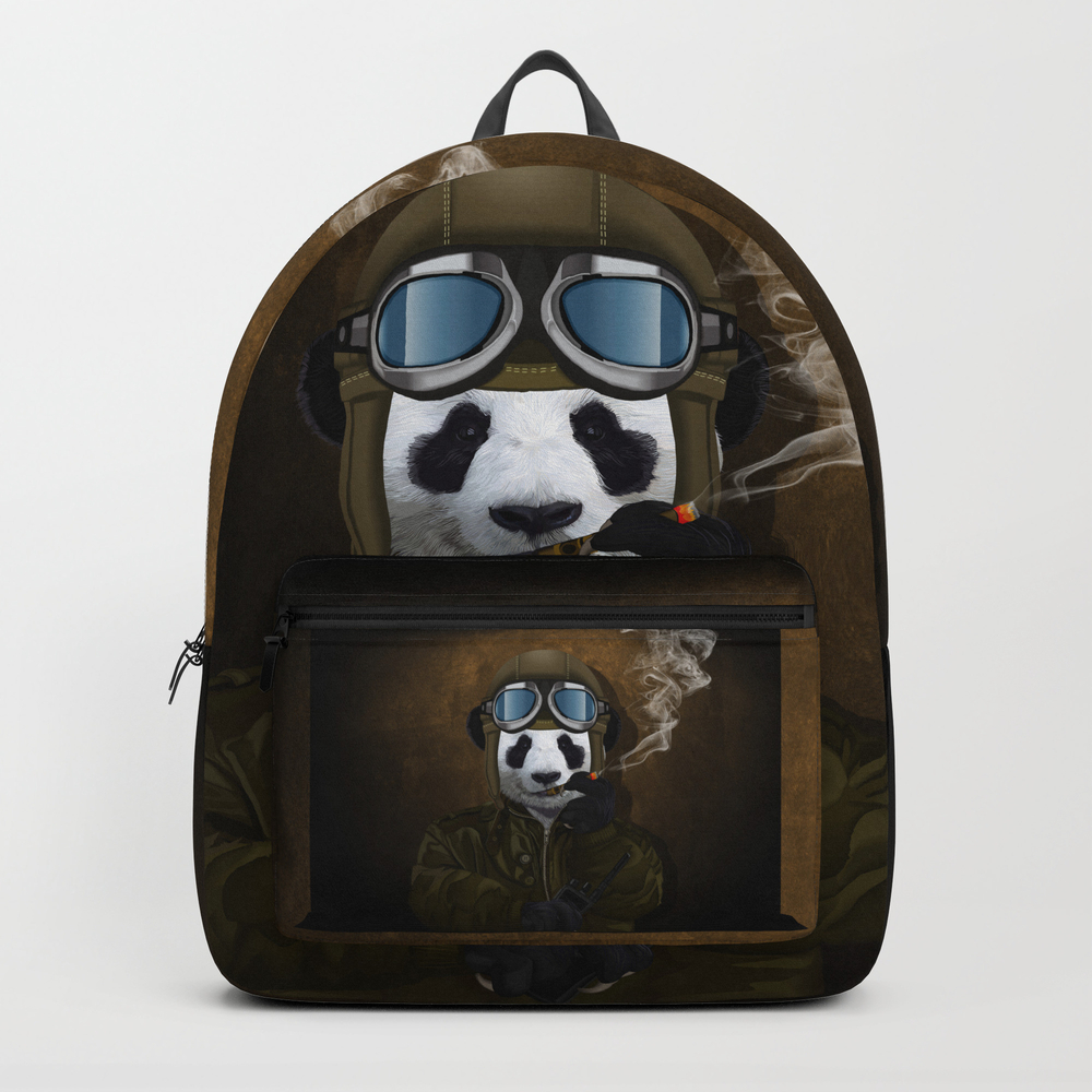 Panda Pilot Iphone 4 4s 5 5c 6 7, Pillow Case, Mug… Backpack by Threesecond BKP7723668