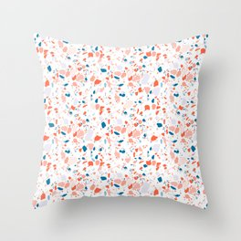Terrazzo in pink and blue Throw Pillow