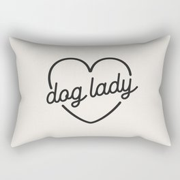 Dog Lady - French Vanilla White Rectangular Pillow