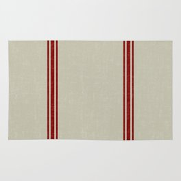 Red Stripes on Linen color background French Grainsack Distressed Country Farmhouse Rug