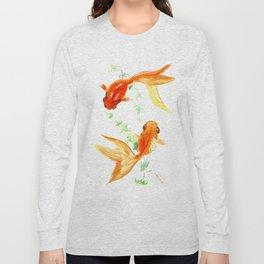 Goldfish, Feng Shui Asian Watercolor Long Sleeve T-shirt