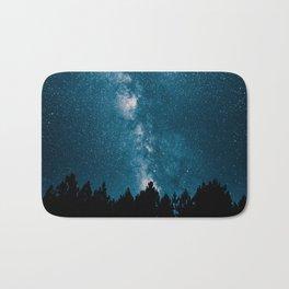 Blue Milky Way At Night Pine Tree Silhouette Stars Night Time Bath Mat