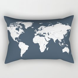 Minimalist World Map in Navy Blue Rectangular Pillow
