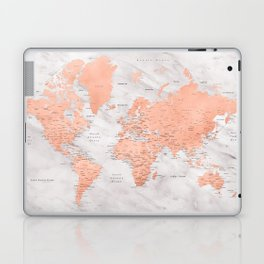 """Rose gold and marble world map with cities, """"Janine"""" Laptop & iPad Skin"""