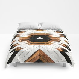 Urban Tribal Pattern 5 - Aztec - Concrete and Wood Comforters