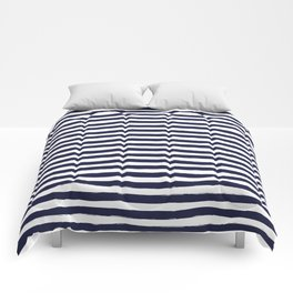 Navy Blue and White Horizontal Stripes Comforters